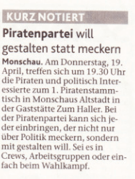 Scan vom Artikel der Eifeler Nachrichten Piratenpartei will gestalten statt meckern